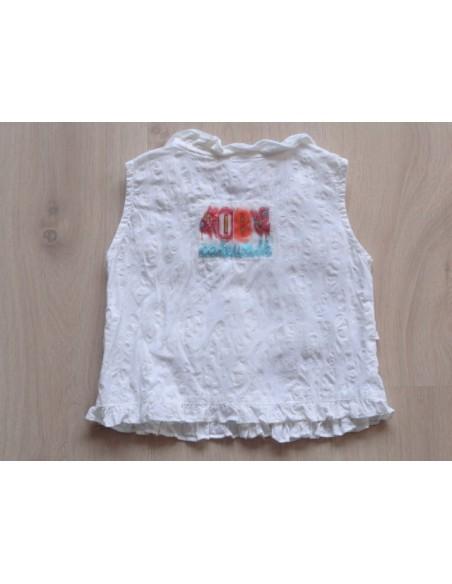 Cakewalk blouse mouwloos roomkleurig  maat 104