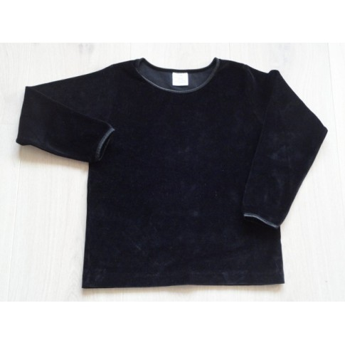 Longsleeve zwart geplet velours maat 110