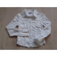 Noknok Girls blouse bloes wit parelmoer knoopjes maat 140