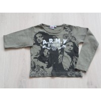 Kiddy Girl longsleeve legergroen print armyof dreams maat 92 - 98