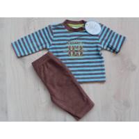 Nieuw! Feetje badstof pyjama bruin/ aqua mt 56