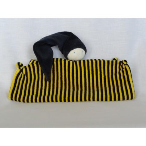Knuffeldoekje Tutpopje zwart geel gestreept 32 x 25 cm