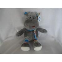 Koppen knuffel nijlpaard grijs gestreept 21 cm