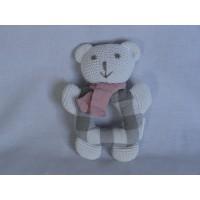 Clayre & Eef rammelaar beer gehaakt grijs wit roze sjaal 13 cm