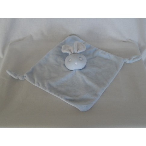 Bambino knuffeldoekje konijn velours lichtblauw wit 23 x 23 cm
