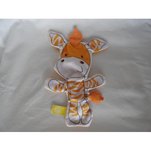 CZ knuffeldoekje velours katoen oranje wit Zetje Zebra 28 cm