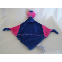 Samenzorg knuffeldoekje velours blauw roze eend 20 cm
