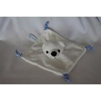 Nutricia knuffeldoek velours wit blauw geruit ijsbeer 18 cm