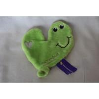 De Kandeel knuffeldoekje hart velours groen grijs 18 cm
