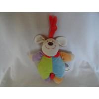 Eddy Toys muziekdoos hond velours pastel 20 cm