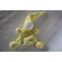 Tiamo De Kandeel lappenpopje tutpopje badstof geel groen vlekken 26 cm