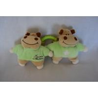 Tiamo Harry Hippo 2 knuffels velours groen beige 12 cm
