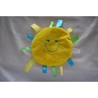 Difrax knuffeldoek labeldoek knisperdoek geel zon smiley 16 cm