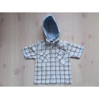 Basket boy bruin/ blauw geblokte blouse mt 98