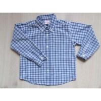 H&M blauw geblokte blouse mt 98