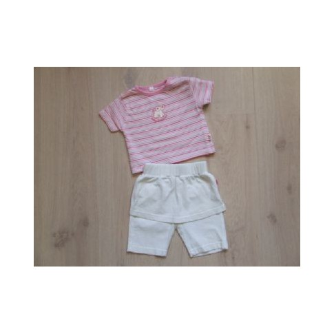 Noppies set 2 dlg roze wit baby elephant maat 50-56