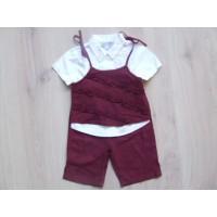 Baby/ Bébé 3 delige bordeaux/ witte set mt. 74-80