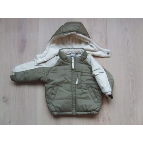 Babykleding Winterjas.Baby Blu Winterjas Olijfgroen Creme Mt 68