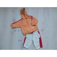 Baby Club C&A beige/ oranje/ rood joggingpak mt 68