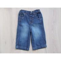 Blauwe jeansbroek bruine stiksels mt 68