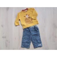 BFC 2 delige set gele longsleeve +blauwe jeans mt 68